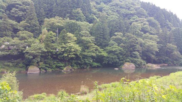 立久恵峡の神戸川の水面