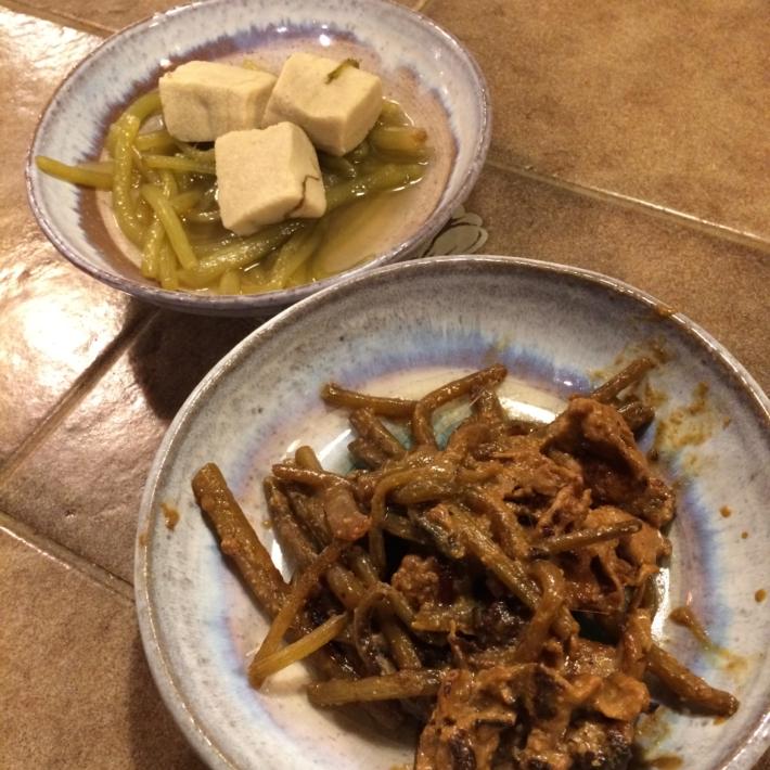 ふきと高野豆腐の煮物・フキの中華風炒め物